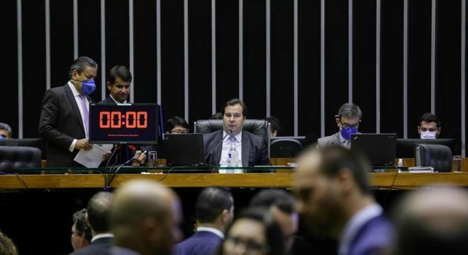 O presidente da Câmara, Rodrigo Maia, durante a votação virtual