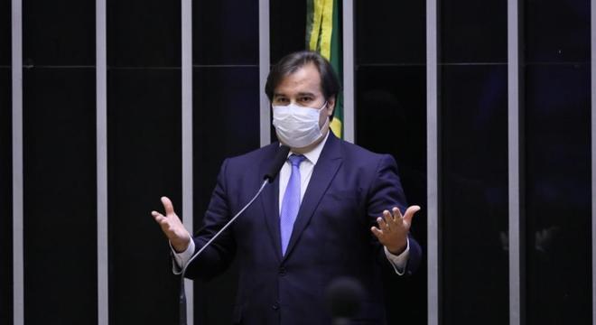 O presidente da Câmara, Rodrigo Maia, durante votação remota