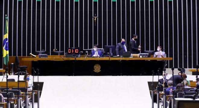Plenário da Câmara durante votação remota