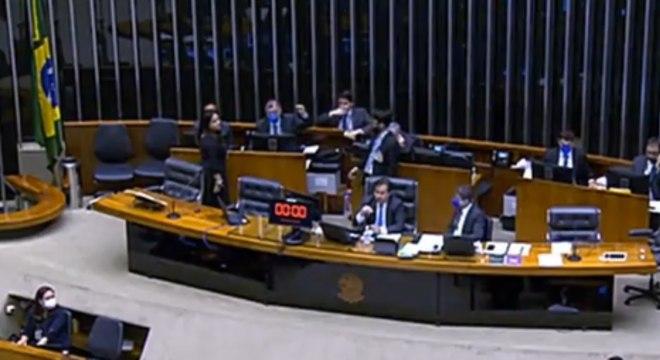 O presidente da Câmara, Rodrigo Maia, durante votação virtual