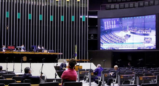Plenário da Câmara dos Deputados durante votação virtual