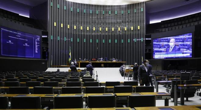 Plenário da Câmara durante sessão remota