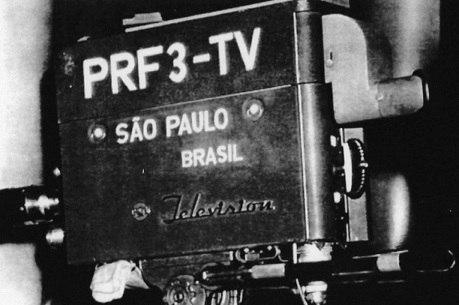 Uma das câmeras usadas na inauguração da TV Tupi, em São Paulo, no ano de 1950