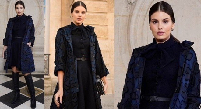 Look lindo e elegante da atriz Camila Queiroz na Semana de Moda de Paris.