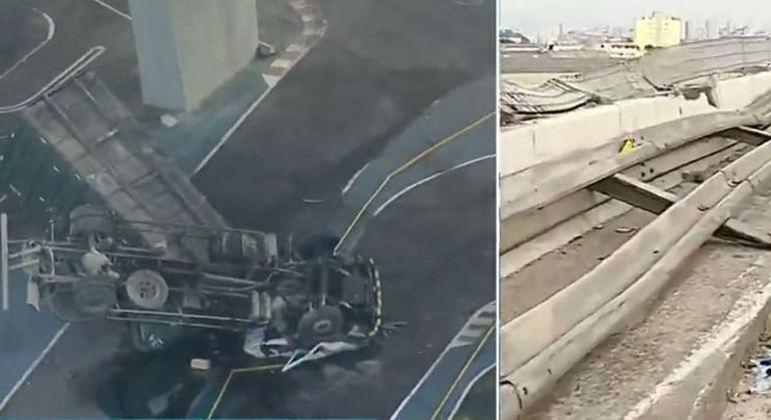 Caminhão despencou depois de motorista perder controle da direção e bater no guard-rail