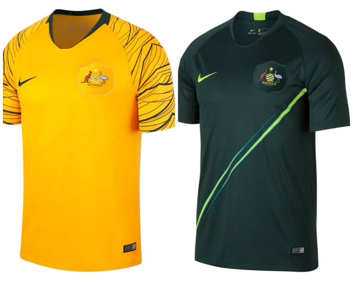 00af1a3c63ea9 ... Os australianos optaram por usar uma tonalidade forte de amarelo para a camisa  titular e verde ...