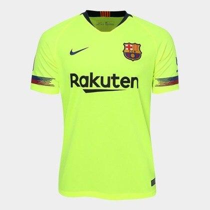 Camisa away Barcelona 2018/2019 - De volta ao amarelo-fluorescente, a camisa ficou marcada pela eliminação traumática para o Liverpool na semifinal da Liga dos Campeões