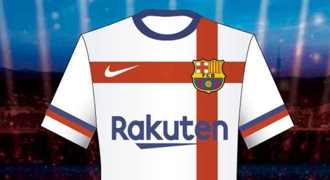 Desenho da camisa branca apresentado ao Barcelona a18d22f4955aa