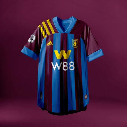Camisa do Aston Villa com Adidas (fornecedora atual: Kappa)
