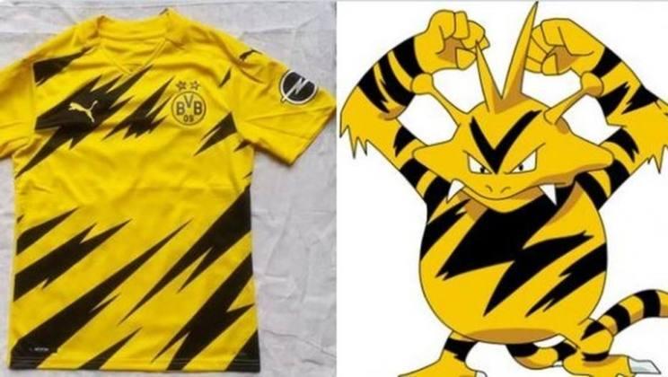 Camisa do Borussia Dortmund da temporada 2020/21 foi comparada ao Electabuzz, um dos monstros de Pokemón (Junho/2020)