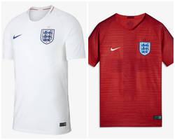 4e0b11ce85 ... Camisa titular da Inglaterra é predominantemente branca. Já a reserva é  vermelha e conta com ...