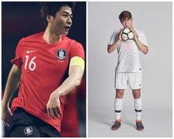 ... A seleção da Coréia do Sul veste modelos coloridos com base na bandeira  do país 6316f11916fa1