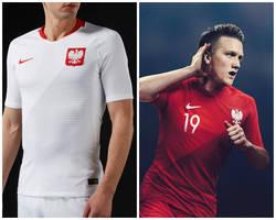 5687c24aba ... Os kits da seleção da Polônia contam com desenho diagonal na parte  frontal das peças.