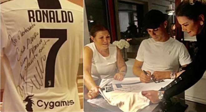 Cristiano Ronaldo deu camisa para ser exposta em restaurante da mãe e irmã