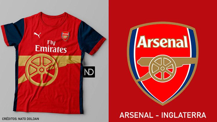 Camisas dos times de futebol inspiradas nos escudos dos clubes: Arsenal