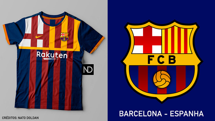 Camisas dos times de futebol inspiradas nos escudos dos clubes: Barcelona