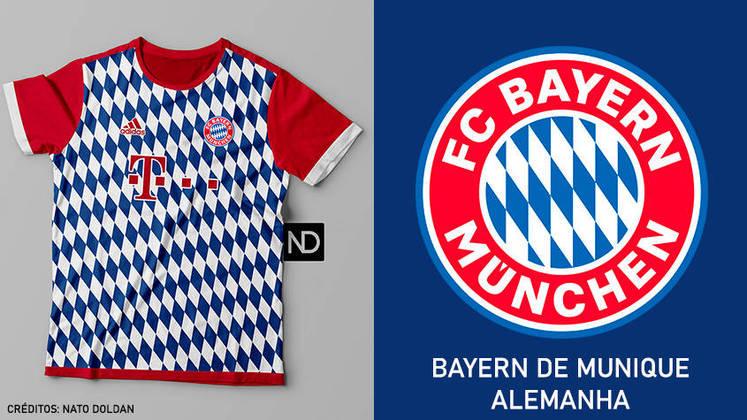 Camisas dos times de futebol inspiradas nos escudos dos clubes: Bayern de Munique