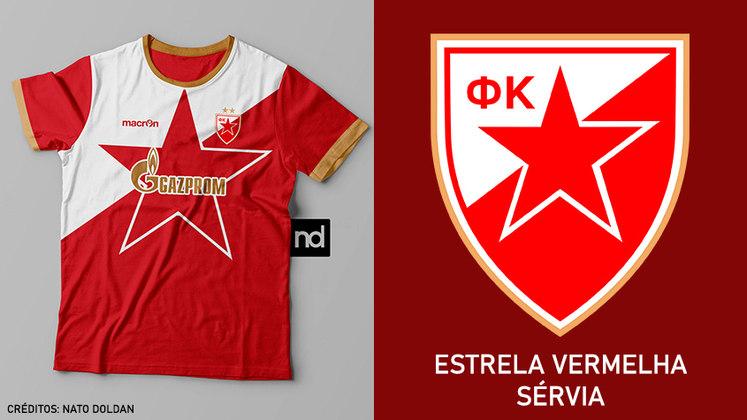 Camisas dos times de futebol inspiradas nos escudos dos clubes: Estrela Vermelha