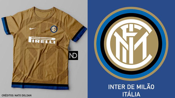 Camisas dos times de futebol inspiradas nos escudos dos clubes: Internazionale de Milão