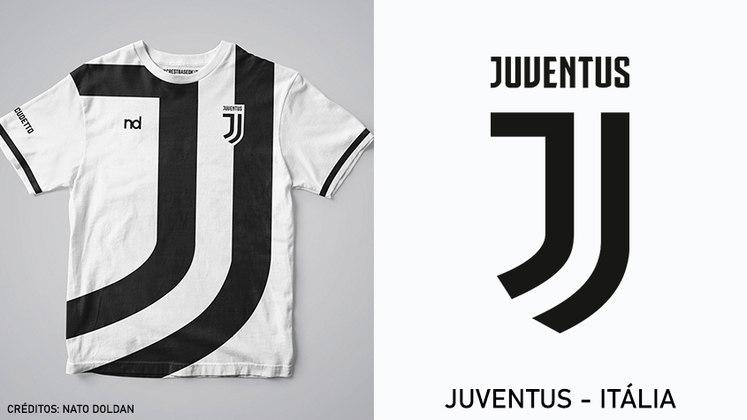 Camisas dos times de futebol inspiradas nos escudos dos clubes: Juventus