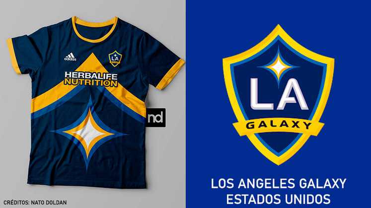 Camisas dos times de futebol inspiradas nos escudos dos clubes: Los Angeles Galaxy