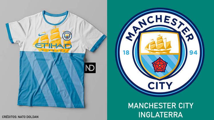 Camisas dos times de futebol inspiradas nos escudos dos clubes: Manchester City