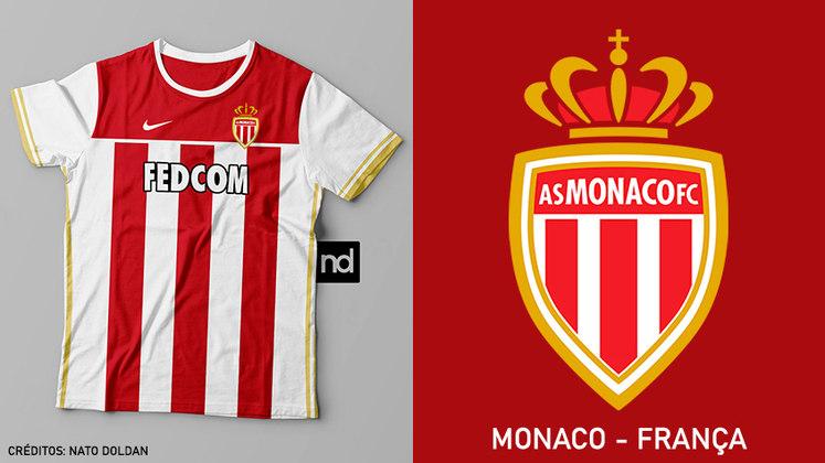 Camisas dos times de futebol inspiradas nos escudos dos clubes: Monaco