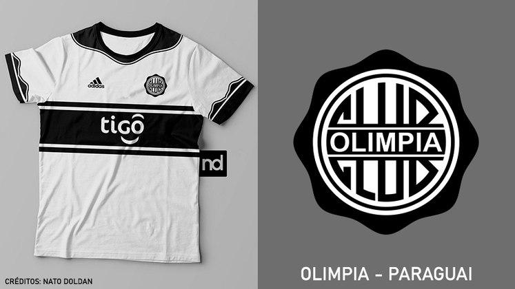 Camisas dos times de futebol inspiradas nos escudos dos clubes: Olimpia