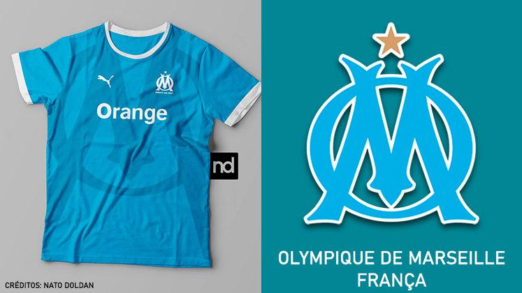 Camisas dos times de futebol inspiradas nos escudos dos clubes: Olympique de Marseille