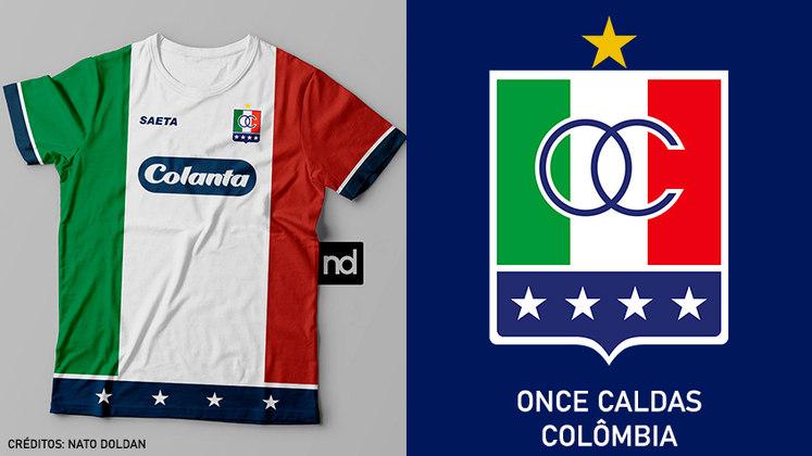 Camisas dos times de futebol inspiradas nos escudos dos clubes: Once Caldas