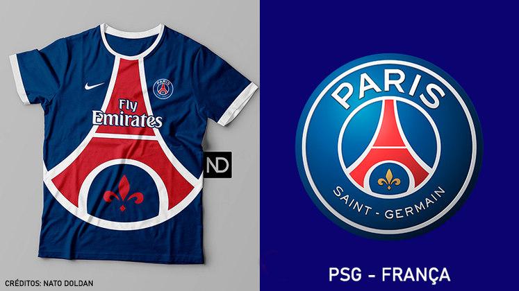 Camisas dos times de futebol inspiradas nos escudos dos clubes: Paris Saint-Germain