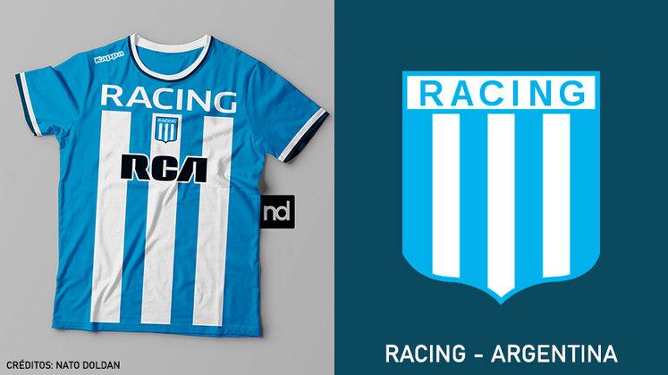 Camisas dos times de futebol inspiradas nos escudos dos clubes: Racing