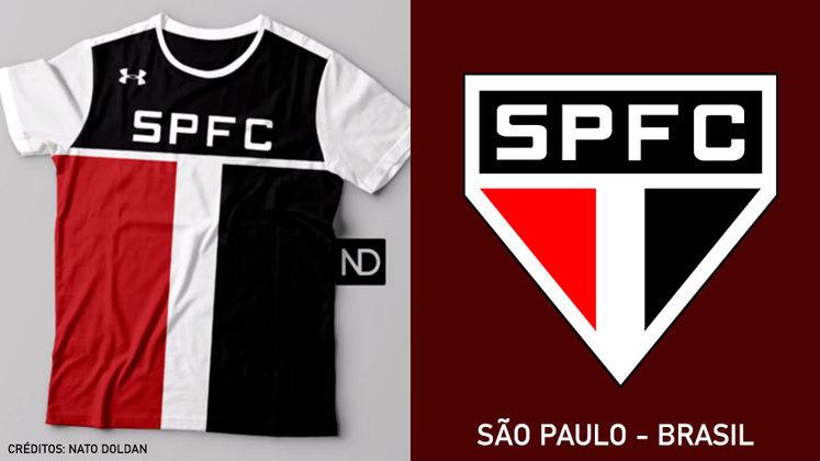 Camisas dos times de futebol inspiradas nos escudos dos clubes: São Paulo