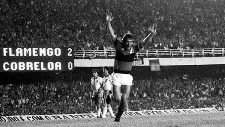 Campeão da Libertadores de 1981, o Flamengo venceu o Cobreloa, do Chile, no Maracanã, no primeiro jogo da decisão. O placar foi de 2 a 1.