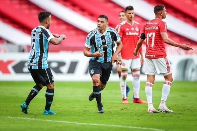 CAMPEONATO GAÚCHO: no primeiro jogo da decisão, neste domingo (16), o Grêmio venceu o Internacional, de virada, pelo placar de 2 a 1, no Beira-Rio. A segunda partida será disputada no próximo domingo (23), às 16h, na Arena do Grêmio.