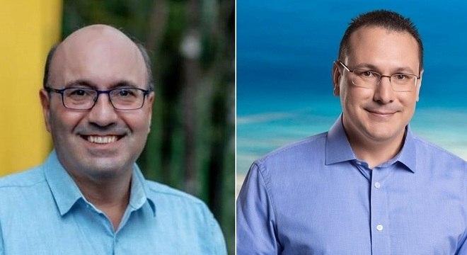 Dario Saadi (à esq.) lidera pesquisa com 42% e Rafa Zimbaldi tem 35%