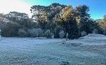 A geada cobriu as paisagens do município da Serra da Mantiqueira