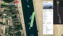 Cargueiro no Canal de Suez foi reorientado para 'direção correta'