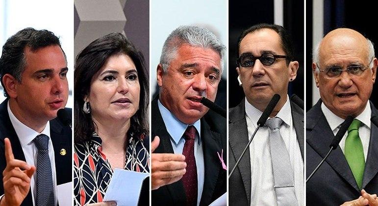 Os candidatos: Rodrigo Pacheco, Simone Tebet, Major Olimpio, Jorge Kajuru e Lasier Martins