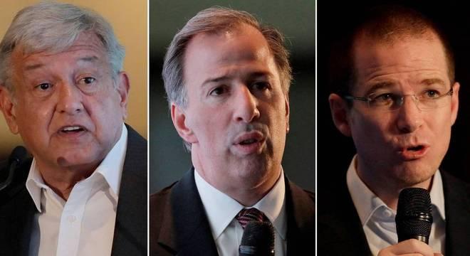 López Obrador (esq.), Meade (centro) e Ricardo Anaya disputam presidência