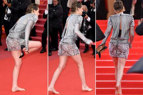 Kristen Stewart chegou de Louboutin, mas ficou descalça em Cannes