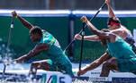 Isaquias Queiroz e Jacky Goddmann na prova de C2 1000 m