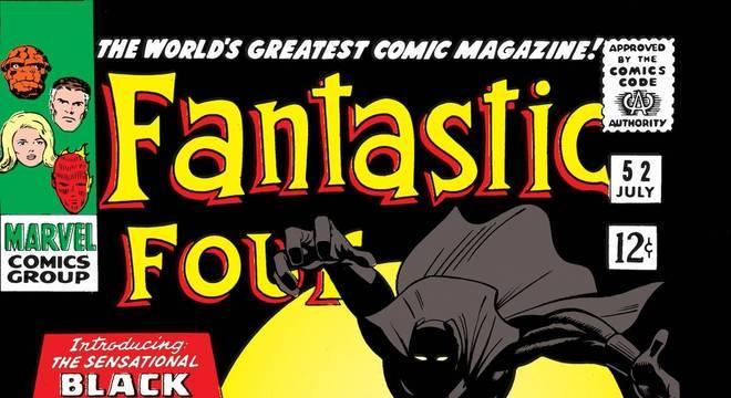 Capa da HQ do Quarteto Fantástico com Pantera Negra