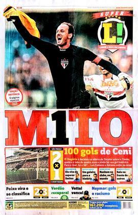 Capa do Diário LANCE! no dia 27 de março de 2011: