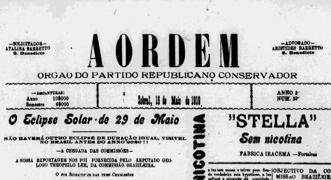 """Jornais brasileiros cobriram o dia a dia das expedições brasileira, britânica e americana em Sobral; alguns chegaram a """"adiantar"""" o resultado favorável a Einstein, mesmo antes de os cientistas compilarem os dados"""