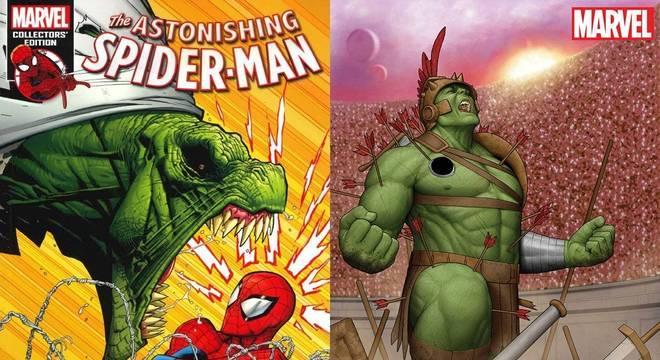 Capas de HQs do Homem-Aranha e Hulk