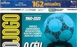 O Jogo, jornal de Lisboa, colocou o astro com uma bola em sua cabeça com a frase: