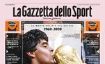 OLa Gazzeta Dello Sport, jornal da Itália, também trouxe o craque com a taça do Mundial. Sobre um dos grandes da história, o diário disse: