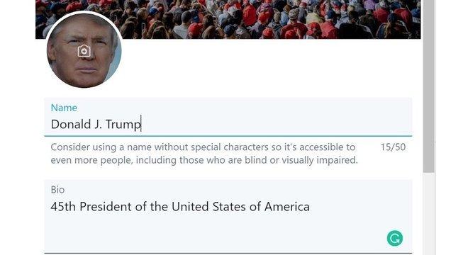 Gevers divulgou captura de tela em que aparentemente poderia editar informações do perfil de Trump