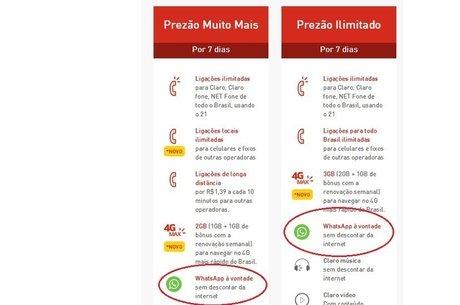 """Plano oferecido pela Claro, no Brasil, oferece """"WhatsApp à vontade, sem descontar da internet""""; operadoras dizem que prática só beneficia usuário"""